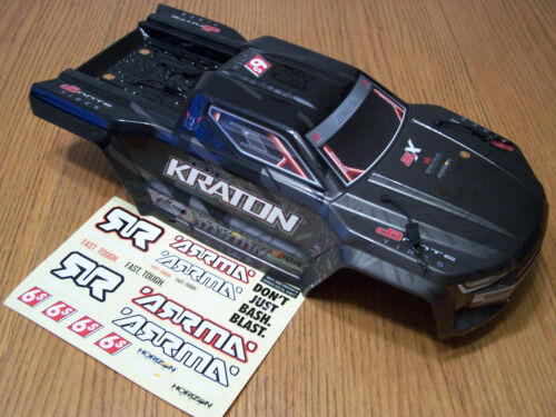 Arrma Kraton EXB 6s Black Factory Painted Decaled Body &Clip Retainers ARA106053