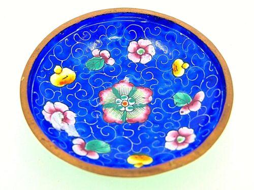 VINTAGE MINIATURE VANITY CHINESE JINGFA BLUE CLOISONNE BOWL BRASS RIM PIN DISH