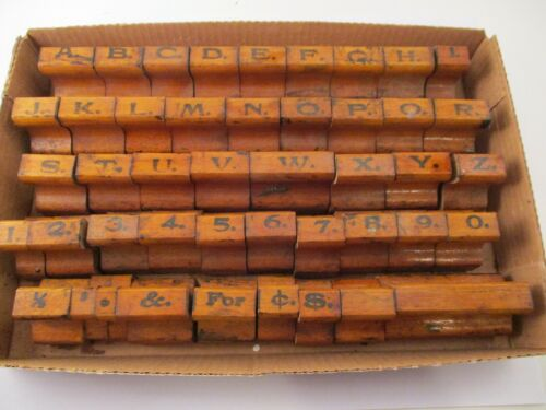 Vintage Wood and Rubber Stamp Set Alphabet Numbers Numerals Symbols