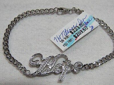 Titanic Hope Design Diamond Accent Sterling Bracelet 7-1/4
