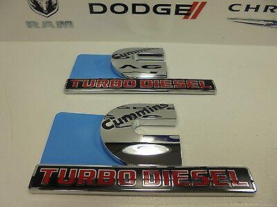 08-16 Ram Trucks New Front Fender Cummins Turbo Diesel Emblem Set of 2 Mopar