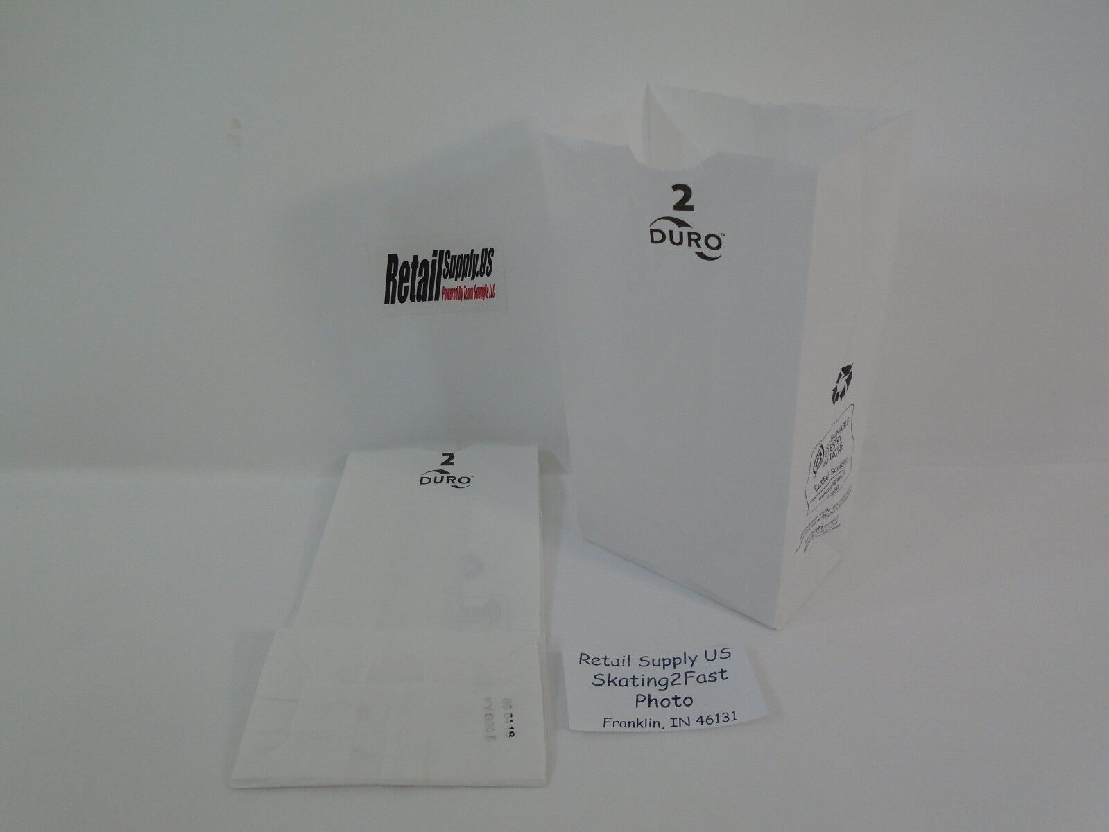 Qty 100 #2 White Paper Kraft Snack Lunch Grocery Merchandise