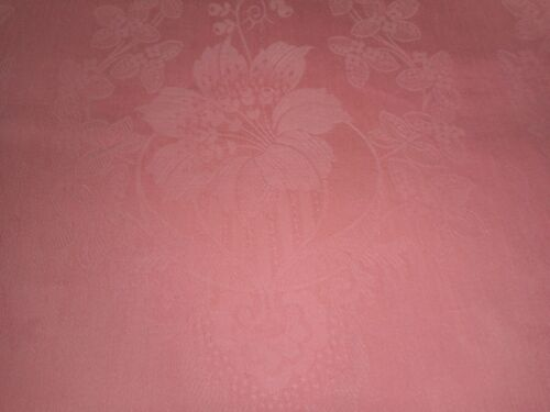 Antique French Art Nouveau Lily Floral Cotton Damask Ticking Fabric ~ Coral Pink