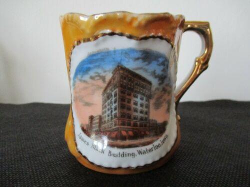 Circa 1915 Souvenir Porcelain Cup Mug James Black Building Waterloo Iowa