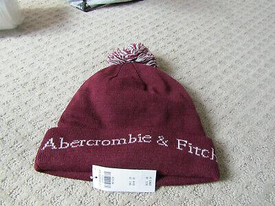 NWT   Abercrombie Mens Vintage Pom Pom Hat Beanie maroon