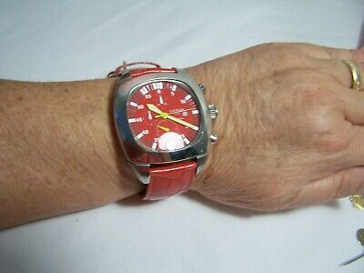 Italian Watch Locman chrono stainless steel 5 ATM Registered Heavy Vintage Red