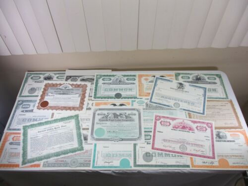 Mixed Lot 20 Vintage Stock Certificates Rubber Airways Utilities Gypsum (6)