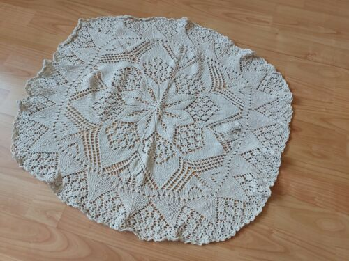ANTIQUE Gorgeous Vintage Handmade Crochet Lace Oval Tablecloth Runner Ivory
