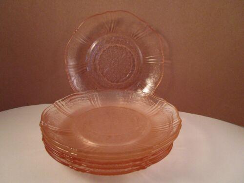 Vintage Macbeth Evans American Sweetheart Pink Glass Set of 6 Saucers
