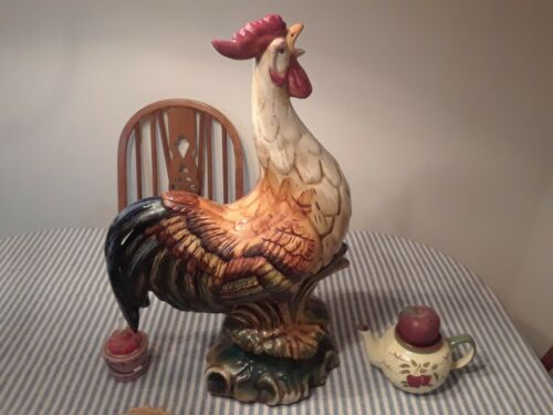 "DECORATIVE CERAMIC 28"" COLORFUL ROOSTER. MAKES GREAT CENTER PIECE FOR TABLE"