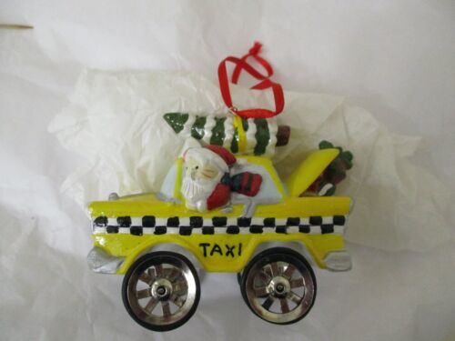 Kurt Alder Porcelain China New York Yellow Taxi Cab Christmas Ornament Hand Made