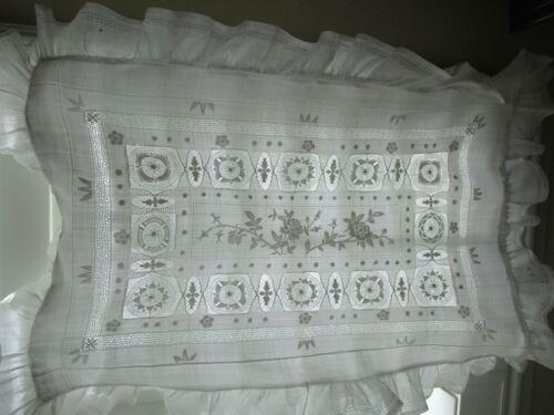 Antique Handkerchief Linen White Embroidered & Drawnwork Ruffled Pillowcase