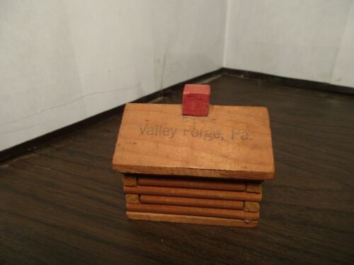 Vintage Wooden Log Cabin Coin Bank - SOUVENIR Valley Forge, PA