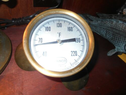 "Up-cycled Antique  Princo Thermometer and Brass Coolidge B78932 10"" Propeller"