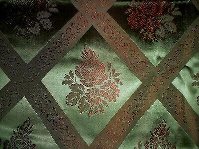 Vintage French Silk Brocade Jacquard Furnishings Fabric ~Stunning Green & Copper
