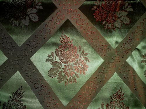 Vintage French Silk Damask Brocade Jacquard Furnishings Fabric ~ Green & Copper