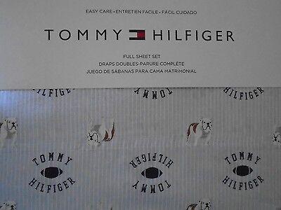 NEW TOMMY HILFIGER LIGHT BLUE STRIPE FOOTBALL LOGO DOG 4 PIECE FULL SHEET -
