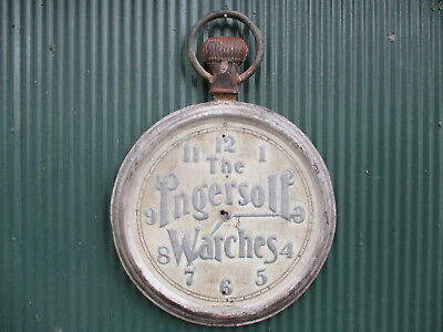 LARGE ANTIQUE INGERSOLL WATCHES  DOUBLE SIDED METAL TRADE SIGN 24