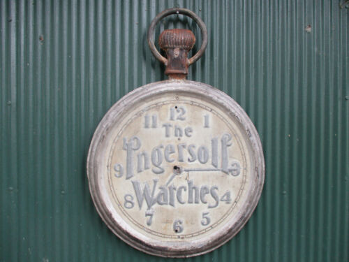 """LARGE ANTIQUE INGERSOLL WATCHES  DOUBLE SIDED METAL TRADE SIGN 24"""" ROUND CLOCK"""