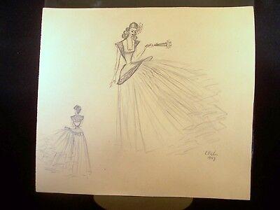 Spring Time Girl 1949 Original Pencil Sketch By C. Schattauer Kelm