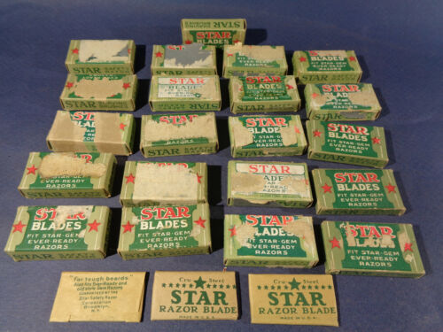 Lot of Antique Star Razor Blades in Original Box, Fit Ever- Ready Old Style Gem
