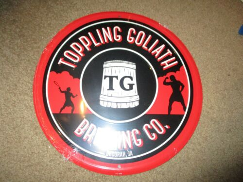 "TOPPLING GOLIATH BREWING pseudo sue 12"" METAL TACKER SIGN craft beer brewery"