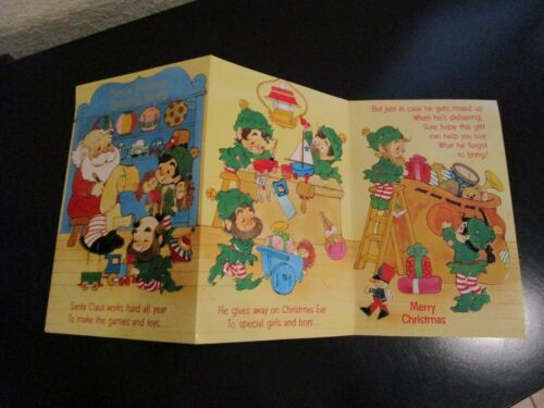 VINTAGE SANTA CHRISTMAS CARD W/ 10 COIN INSERT SLOTS UNUSED!