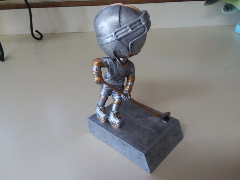 Young Hockey Player Silver/Gold Bobble Head
