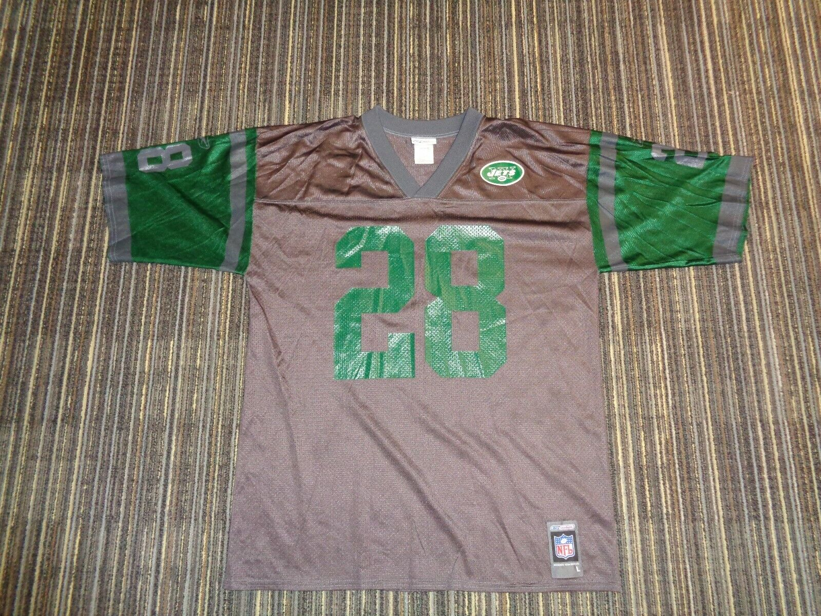 FLAWLESS CURTIS MARTIN 28 NY NEW YORK JETS REEBOK GRAY NFL GAME FOOTBALL JERSEY - $39.99