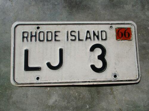 Rhode Island 1966 license plate #  LJ   3