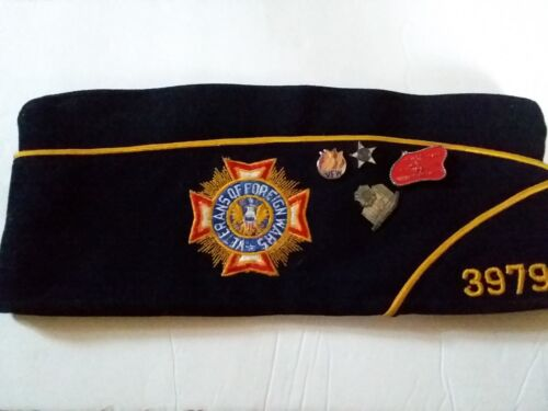 Vintage VFW Veterans of Foreign Wars HAT / Cap with PINS - Minnesota (7 1/4)