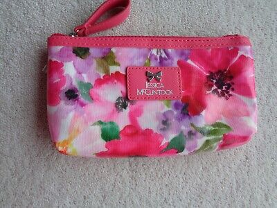 Jessica McClintock Pink Floral Oilcloth Zipper Pouch Purse Cosmetic Bag- New