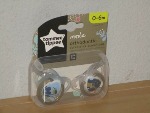 Tommee Tippee Orthodontic Pacifiers Moda 0-6 mo 2 Pack Brown Blue New Package