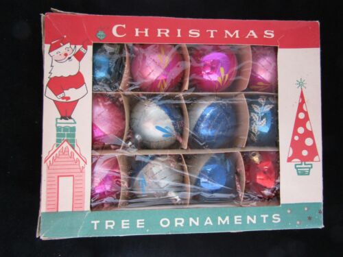 Vintage Christmas Ornament Lot- Original Box- Fantasia Brand- Poland- 12 Normal