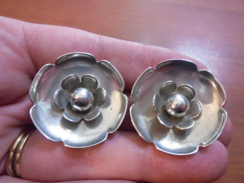 Vtg Sterling silver large round flower clip on nonpierced earrings 14.5 grams