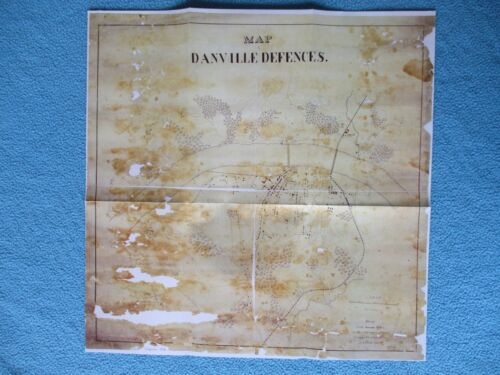 #  Civil War Map - New Confederate Capital , Danville Defenses, Virginia 1865