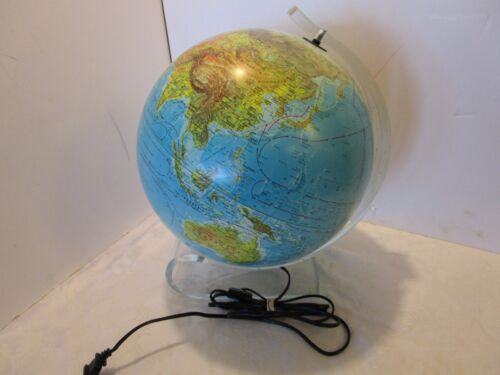 "Lucite Denmark 12"" World Globe Sleek Illuminated Modern Contemporary 15""H Retro"