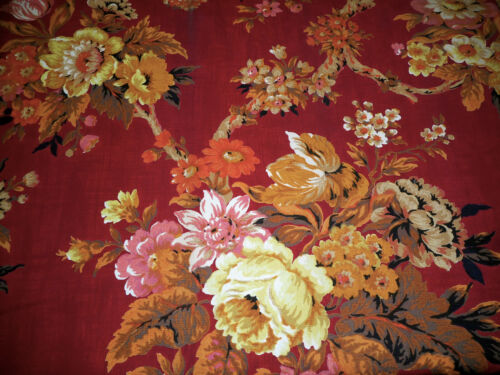 Vtg. French Tree of Life Lg. Floral Furnishings Fabric ~ Red Yellow Orange Pink