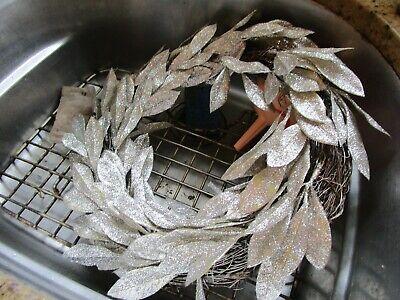 West elm Kraft & Glitter Leaves Wreath silver New wo tag