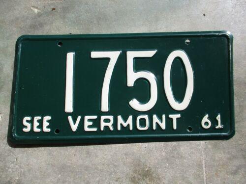 Vermont 1961 license plate  #  1750