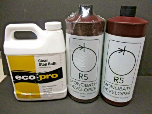 R5 monobath developer 2 bottles & Eco-pro clear stop bath new od stock