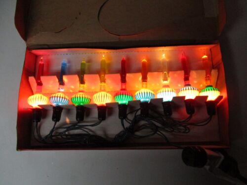 Old 9 Light C-6 NOMA GLOLITE BUBBLE LIGHT SET w SLUGS in ORIGINAL BOX w CORD #26