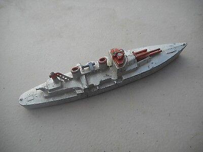"Vintage TootsieToy Diecast Battleship 5 1/2"" Silver War Ship Boat"