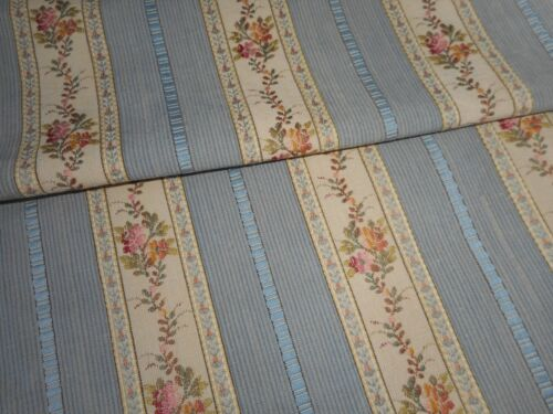 Beautiful Antique French Lisere Floral Stripe Brocade Jacquard Fabric #1~ Blue