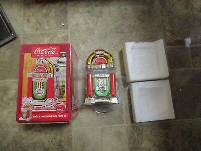 Coca Cola Gibson Coke & a Song Jukebox salt & pepper set new