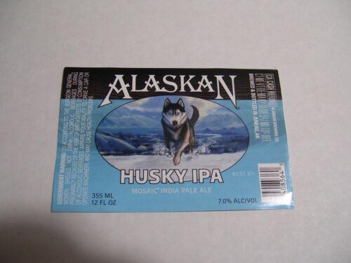 Alaskan Brewing Co. HUSKY IPA Pale Ale UNUSED Beer bottle Label AK
