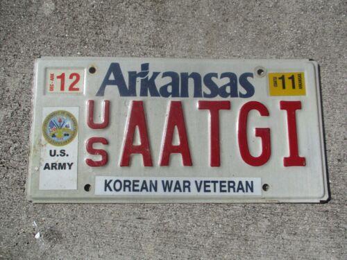 Arkansas 2011 Army Korean War Veteran license plate  #  AATGI