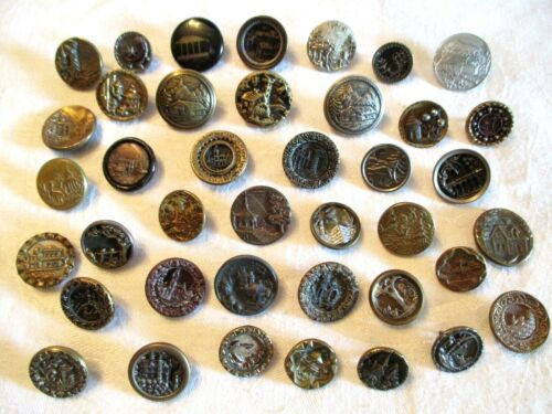 40 ANTIQUE Old French CASTLES & BUILDINGS Brass Steel Tin + CLOTHING BUTTONS