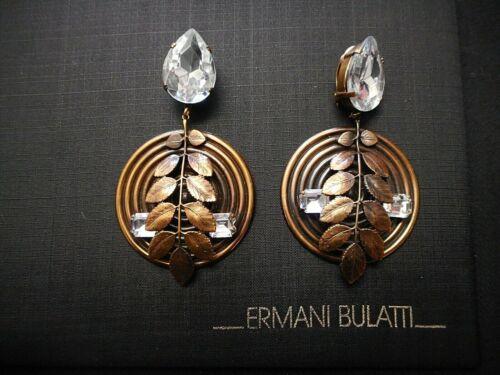 Vintage Ermani Bulatti Bronze Plated Leaf & Crystal Design CLIP Earrings