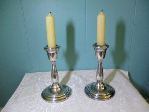 "VTG Pair of Suffolk Silversmiths K639 Silverplated Candlesticks Holders 6"" Tall"